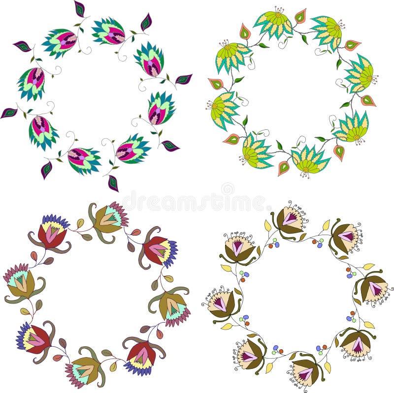 Guirlande tirée par la main de fleur, ensemble de cadres floraux de clipart (images graphiques) de vecteur illustration libre de droits