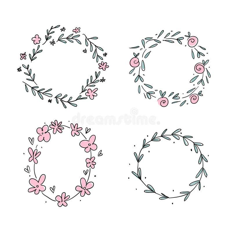 Guirlande tirée par la main de fleur réglée dans le style scandinave illustration de vecteur