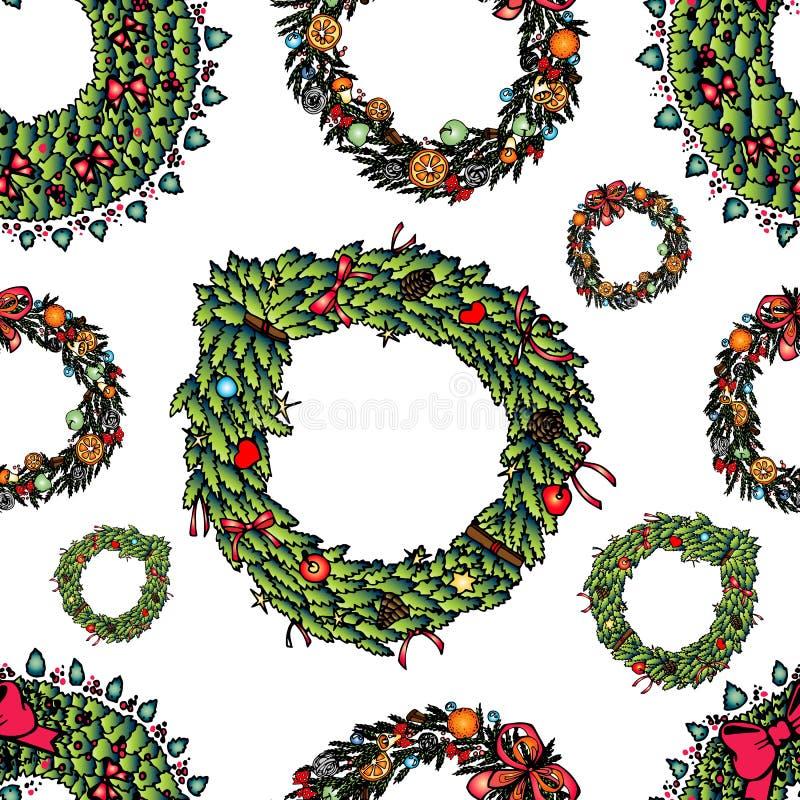 Guirlande tirée par la main de Noël réglée - modèle Illustration de vecteur illustration de vecteur