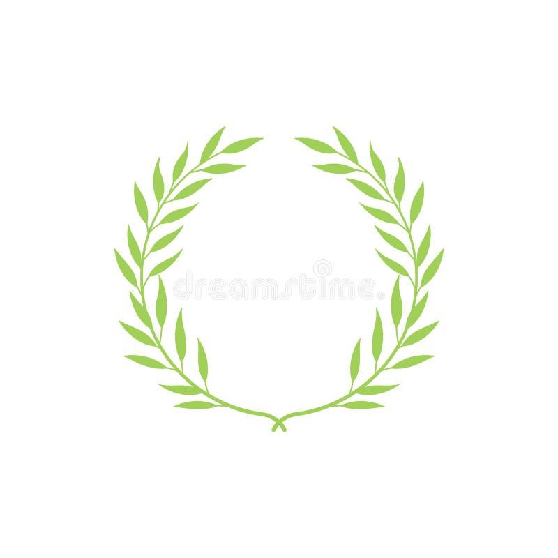 Guirlande vert clair ronde avec les feuilles tirées par la main, branche de laurier avec les feuilles élégantes illustration de vecteur