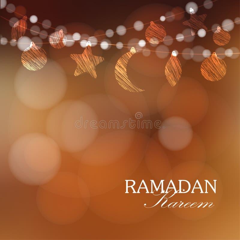 Guirlandes avec la lune, étoiles, lumières, illustration de Ramadan