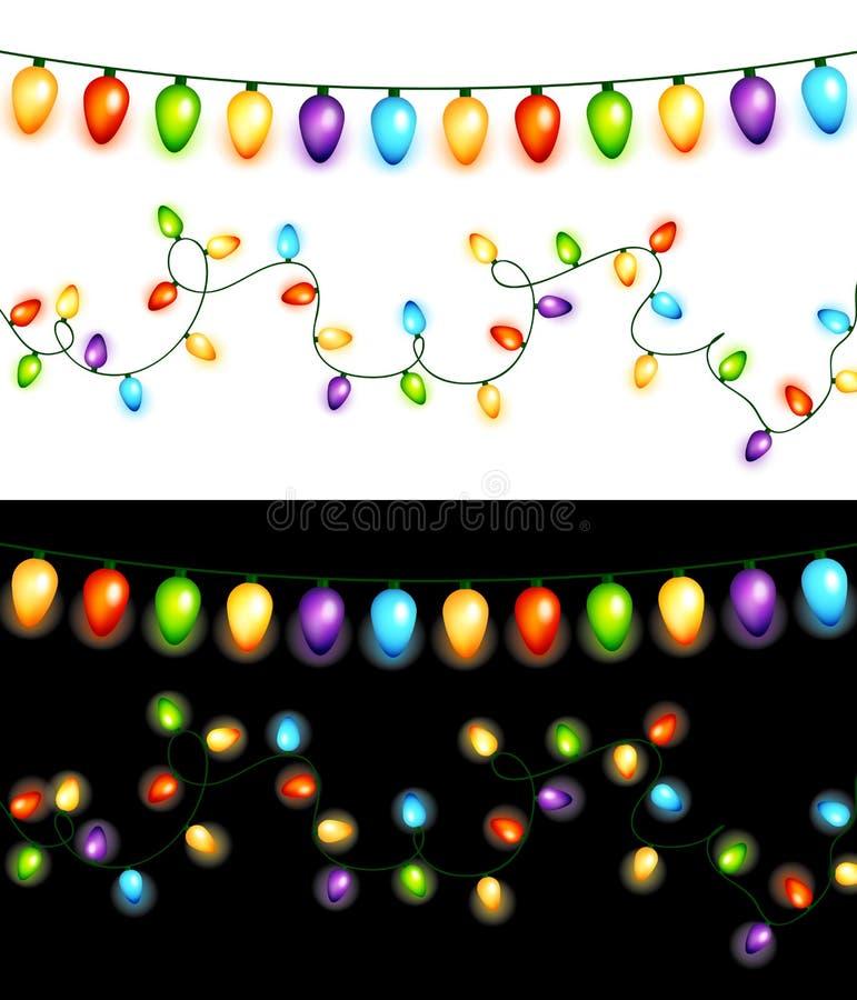 Guirlandes colorées d'ampoules de Noël d'isolement sur le vecteur blanc et noir de milieux illustration stock