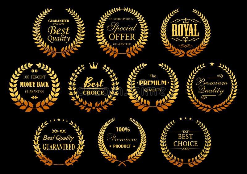 Guirlandes d'or de laurier pour la conception de garantie de qualité illustration stock