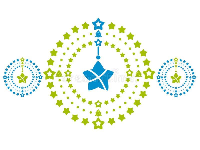 Guirlandes dans vert et bleu Décoration élégante de Noël Conception plate de vecteur illustration libre de droits