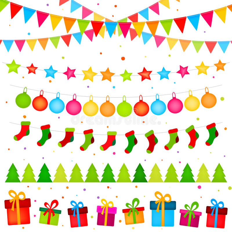 Guirlandes de décoration de Noël illustration de vecteur