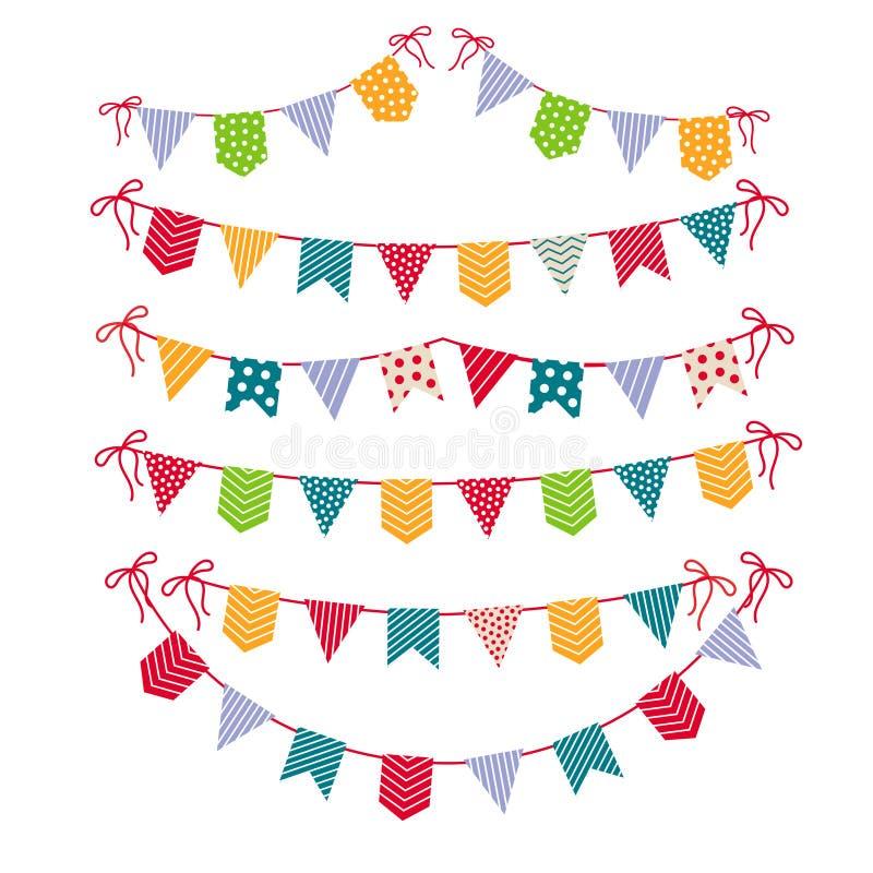 Guirlandes de fête d'isolement sur le fond blanc Illustration réglée de vecteur de guirlande de drapeaux de partie de carnaval illustration de vecteur