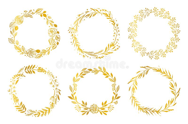 Guirlandes de fleur d'or main d'éléments dessinée par conception Configuration florale illustration stock