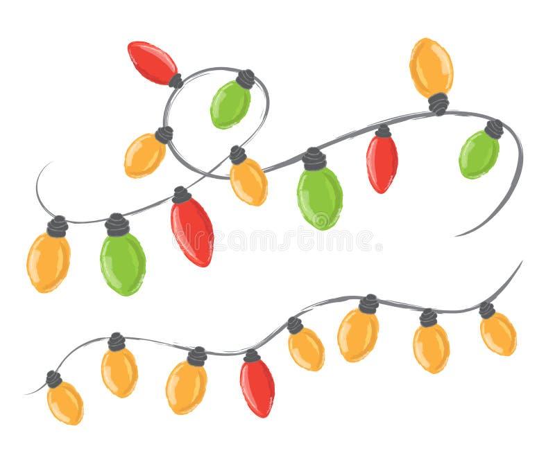 Guirlandes de partie de colorfull de Noël sur le fond blanc illustration de vecteur