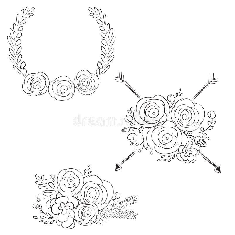 Guirlandes de vecteur et guirlandes de laurier Cadres ronds de vecteur de fleur H illustration de vecteur