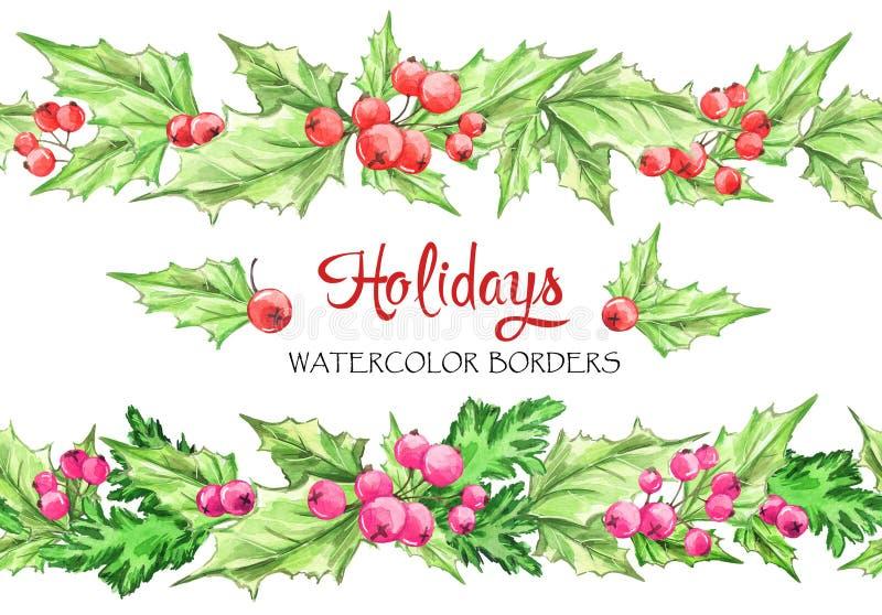 Guirlandes horizontales d'aquarelle Frontières florales sans couture peintes à la main avec la sorbe et les branches Noël An neuf illustration de vecteur