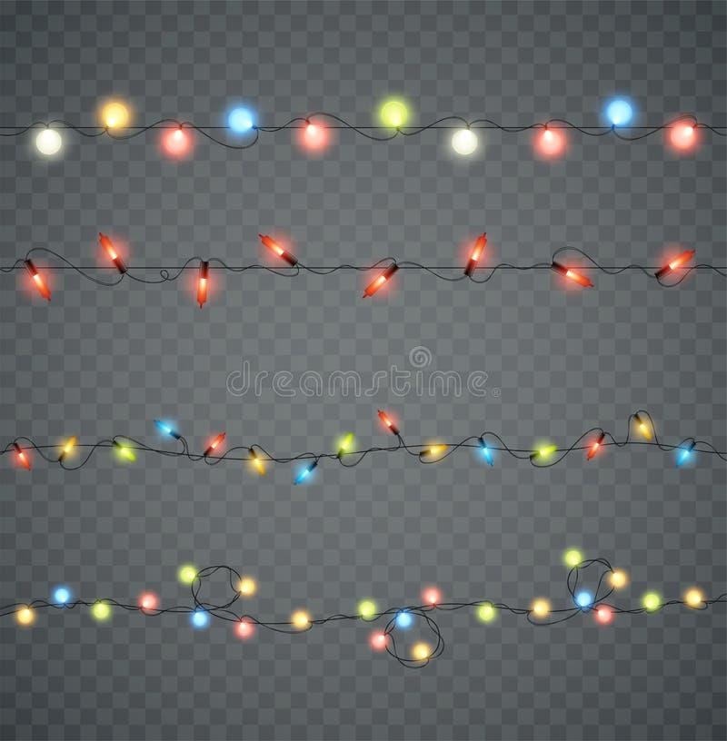 guirlandes Lumières rougeoyantes menées par Noël dans différentes couleurs illustration libre de droits