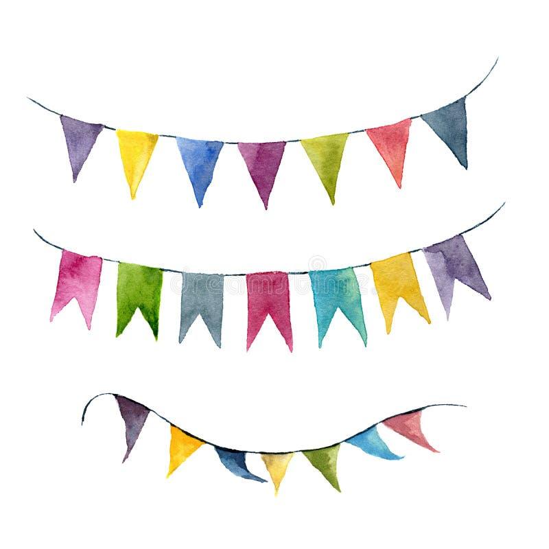 Guirlandes lumineuses de drapeaux de couleur d'aquarelle réglées Faites la fête, les enfants font la fête ou les éléments de déco illustration libre de droits