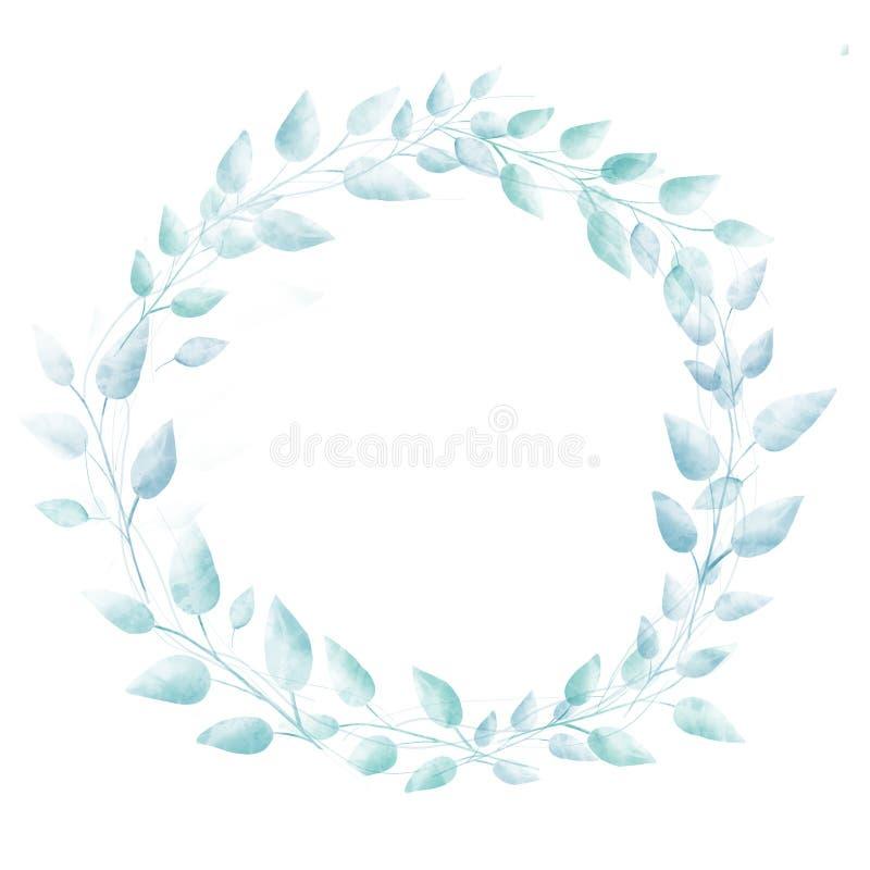 Guirnalda azul en colores pastel de las hojas de la acuarela Mano sutil libre illustration