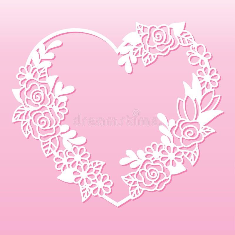 Guirnalda a cielo abierto de flores en la forma de un corazón Plantilla de corte del laser libre illustration
