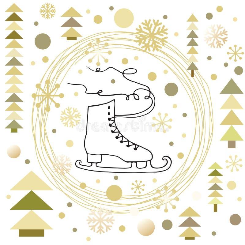 Guirnalda circular con la forma del patín para el diseño de la tarjeta de Navidad libre illustration
