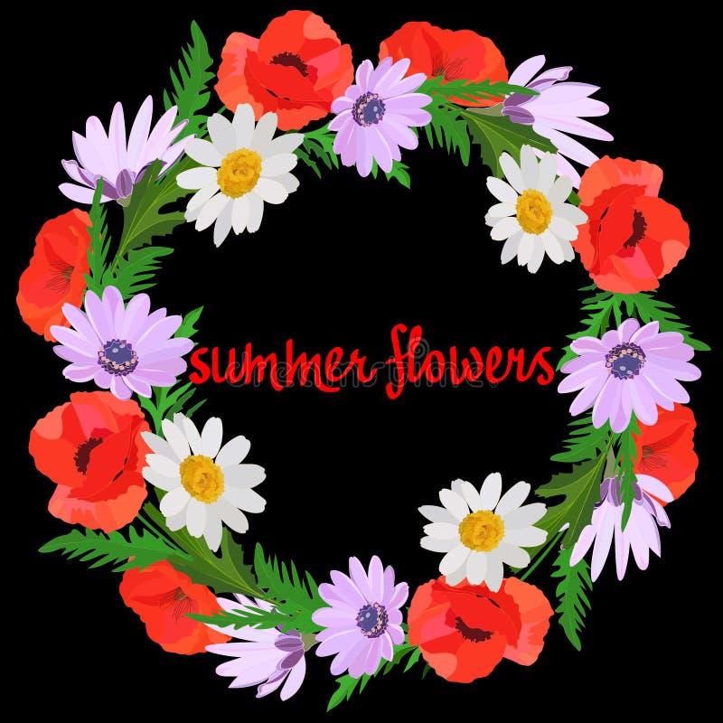 Guirnalda colorida brillante de amapolas rojas, de hojas verdes, de la lila delicada y de las margaritas blancas en fondo negro ilustración del vector