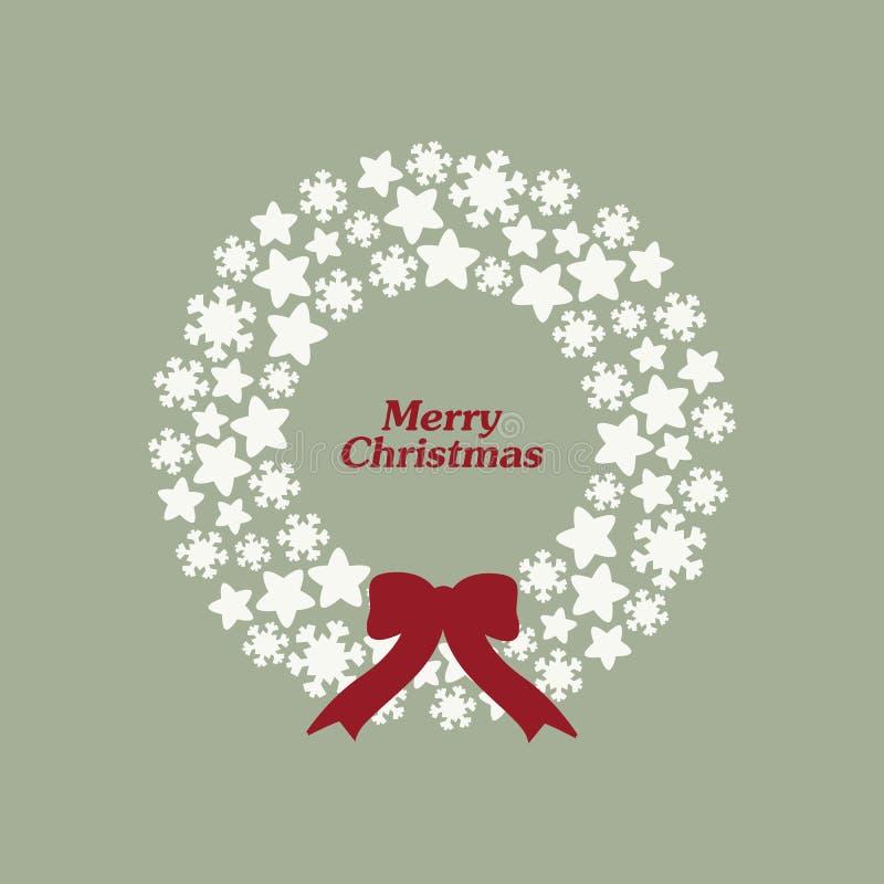 Guirnalda común de la Navidad del vector con los copos de nieve, las estrellas y el arco stock de ilustración