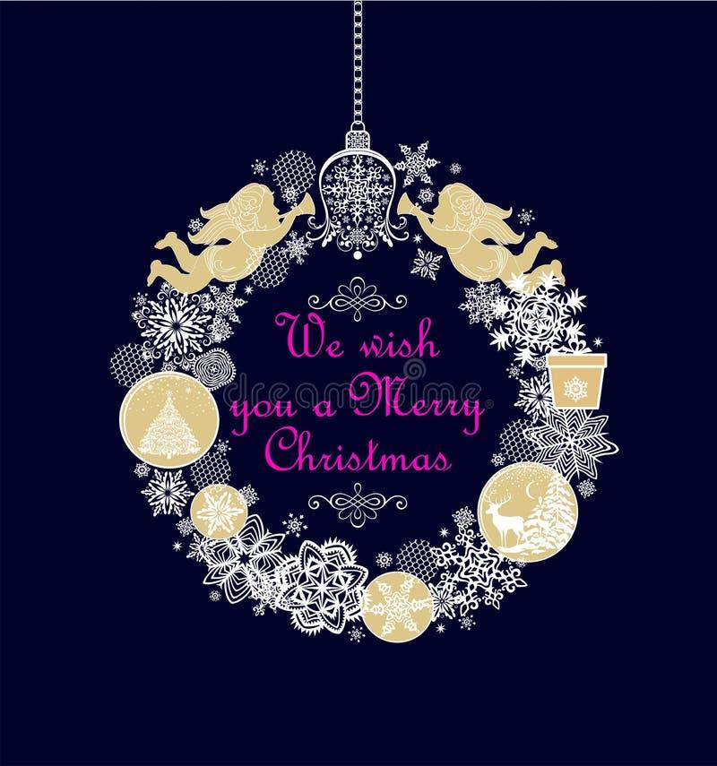 Guirnalda con ángeles de oro hechos a mano, regalo, chucherías, papel de la ejecución del arte de Navidad que corta los copos de  ilustración del vector