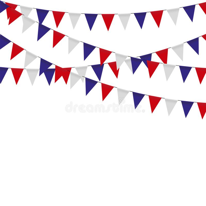 Guirnalda con las banderas de la celebración del triángulo, blanco, azul, banderines rojos en un fondo blanco libre illustration