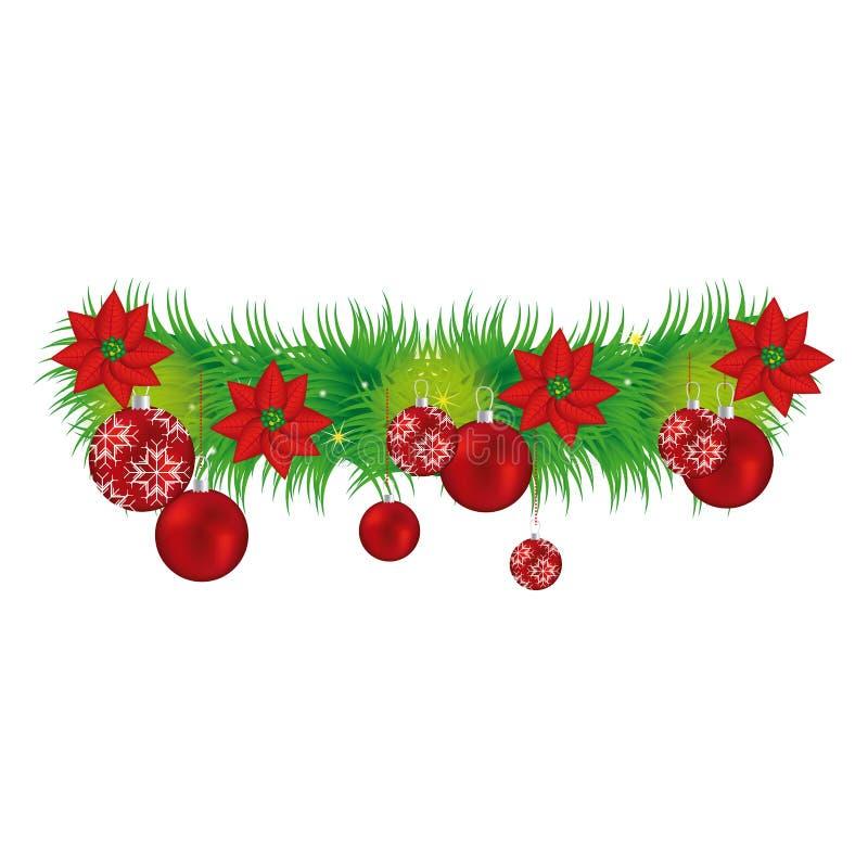 Guirnalda con las flores de la Navidad y las guirnaldas rojas ilustración del vector