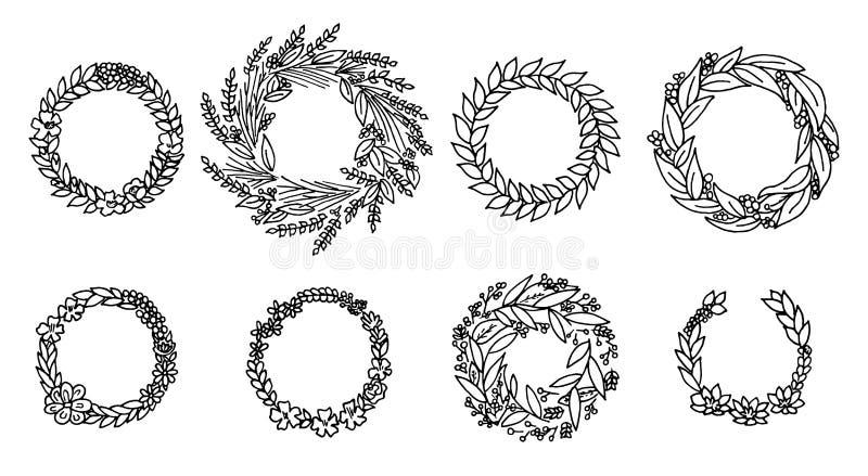 Guirnalda con las flores Sistema del vector Colección floral linda, acuarela dibujada mano tarjetas de la boda o de felicitación  stock de ilustración