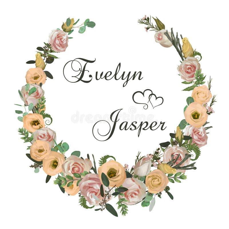 Guirnalda con las flores y las hojas aisladas en el fondo blanco Ejemplo botánico flores color de rosa rosadas, crema del eustoma stock de ilustración