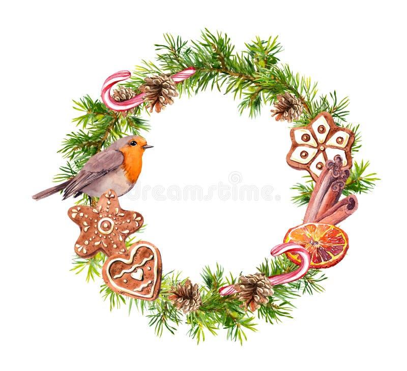 Guirnalda con las galletas del jengibre, canela, bastón de caramelo, naranja, pájaro de la Navidad del petirrojo Acuarela del Año stock de ilustración