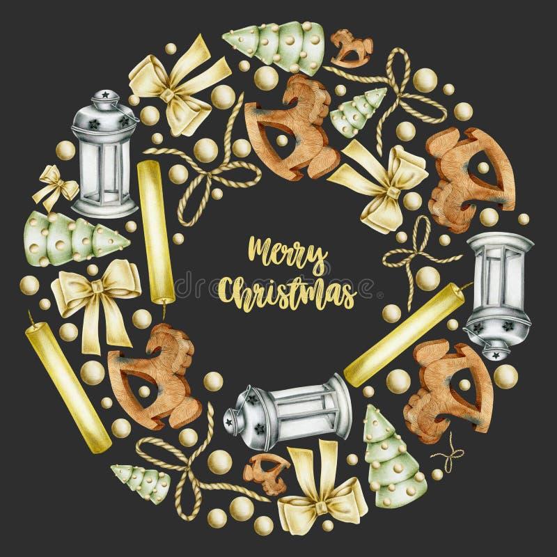 Guirnalda con las velas exhaustas de los elementos de la Navidad de la mano, caballo de madera, arcos, linterna de la Navidad de  libre illustration