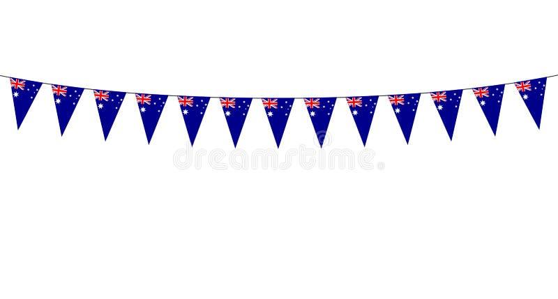 Guirnalda con los banderines de los australianos en el fondo blanco libre illustration