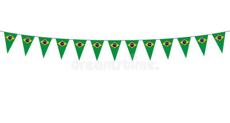 Guirnalda con los banderines de los brasileños en el fondo blanco libre illustration