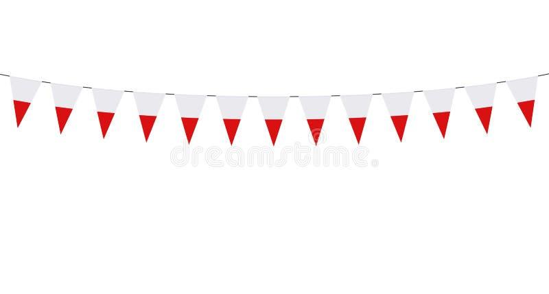 Guirnalda con los banderines polacos en el fondo blanco ilustración del vector