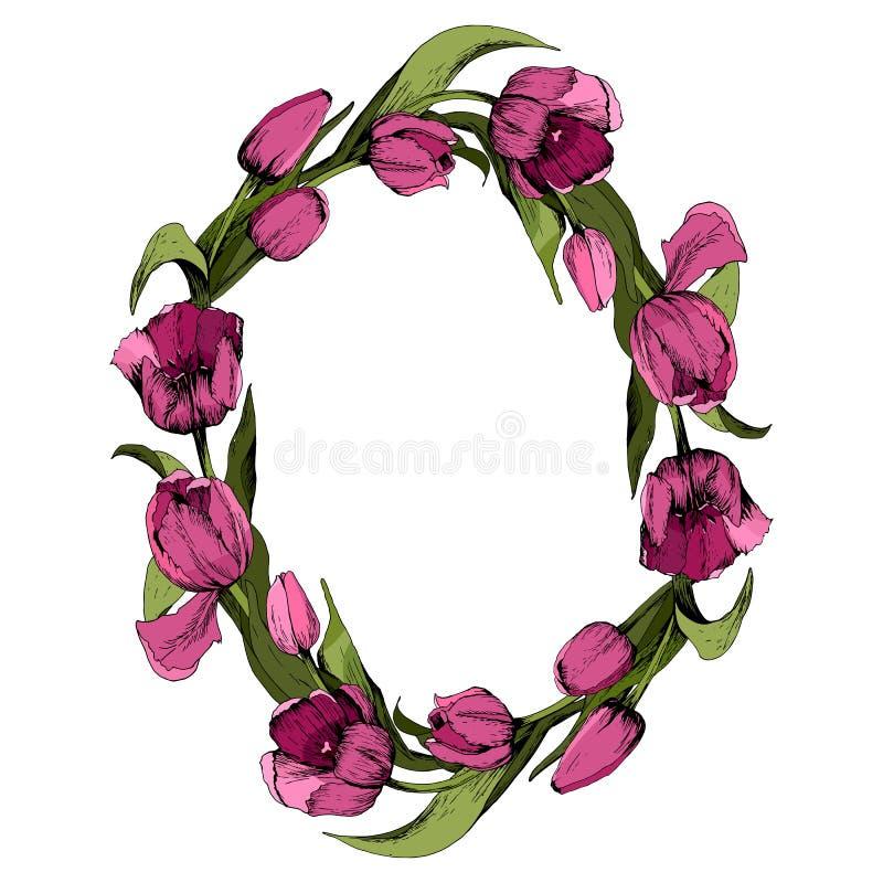 Guirnalda con los tulipanes rosados coloreados Marco oval floral con los tulipanes coloridos Humor del resorte Ilustraci?n del ve ilustración del vector