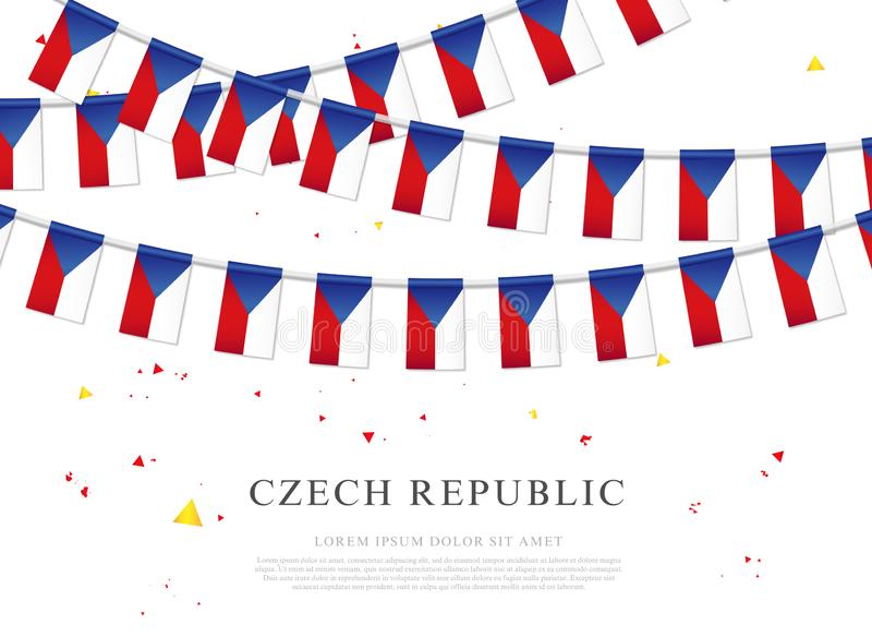 Guirnalda de banderas checas Día de la Independencia checo ilustración del vector