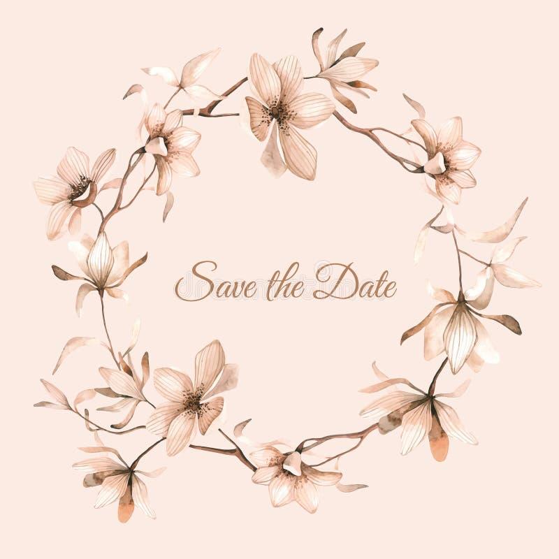 Guirnalda de flores en estilo de la acuarela con el fondo beige libre illustration