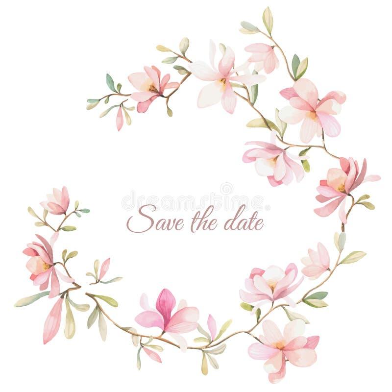 Guirnalda de flores en estilo de la acuarela en el fondo blanco ilustración del vector