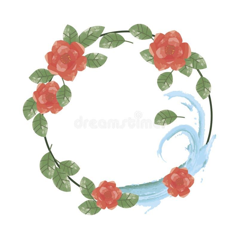 Guirnalda de flores rojas con las hojas del verde y agua azul en una pizca ilustración del vector