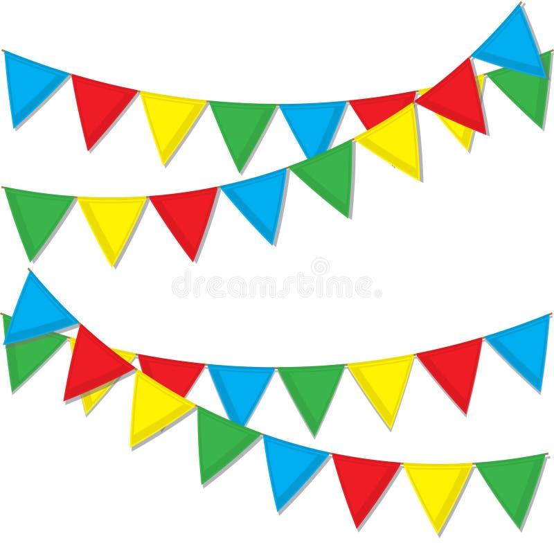 Guirnalda de indicadores coloreados Banderas festivas para la decoración Guirnaldas de banderas en un fondo blanco imagenes de archivo