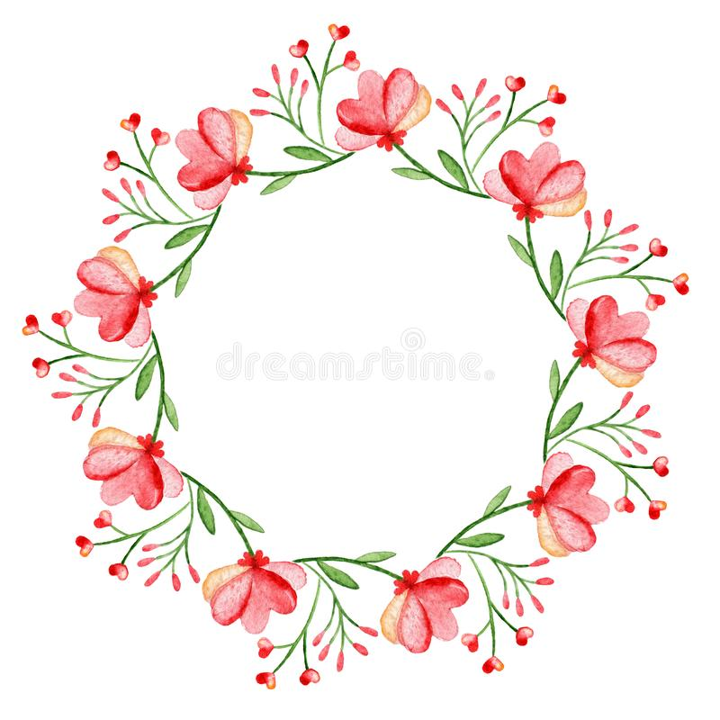 Guirnalda de la acuarela Capítulo con las flores del resorte Diseño a mano circular foto de archivo