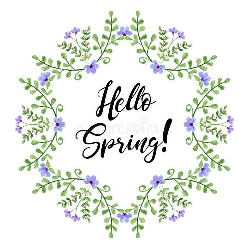 Guirnalda de la acuarela con hola el texto de la primavera Ramas y flores pintadas a mano imágenes de archivo libres de regalías