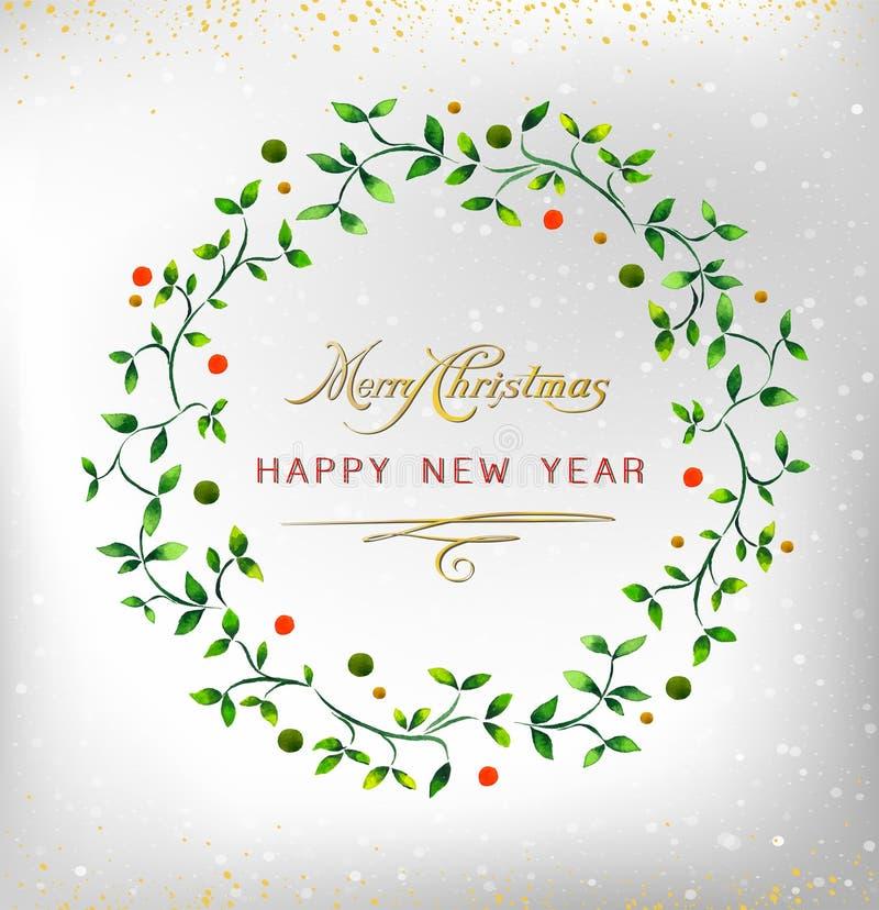 Guirnalda 2016 de la acuarela de la Feliz Año Nuevo de la Feliz Navidad Ideal para la tarjeta de Navidad o la invitación elegante stock de ilustración