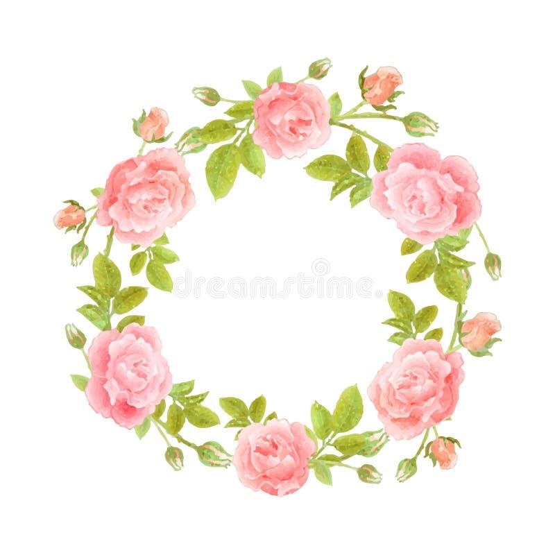 Guirnalda de la acuarela de flores en blanco stock de ilustración