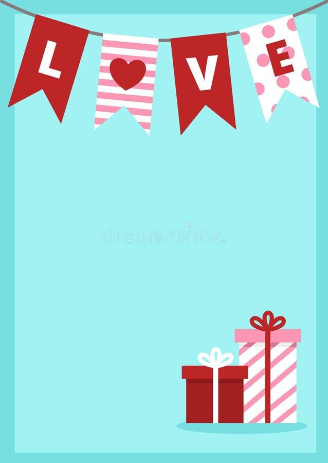 Guirnalda de la bandera del día de tarjeta del día de San Valentín y cajas de regalo rosadas blancas rojas stock de ilustración