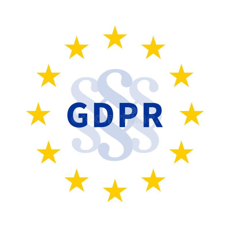 Guirnalda de la estrella de la UE con la muestra de la sección/la marca de párrafo y GDPR/la regulación general de la protección  libre illustration