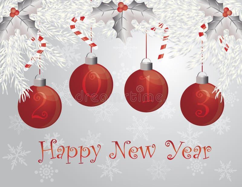 Guirnalda de la Feliz Año Nuevo con 2013 ornamentos ilustración del vector