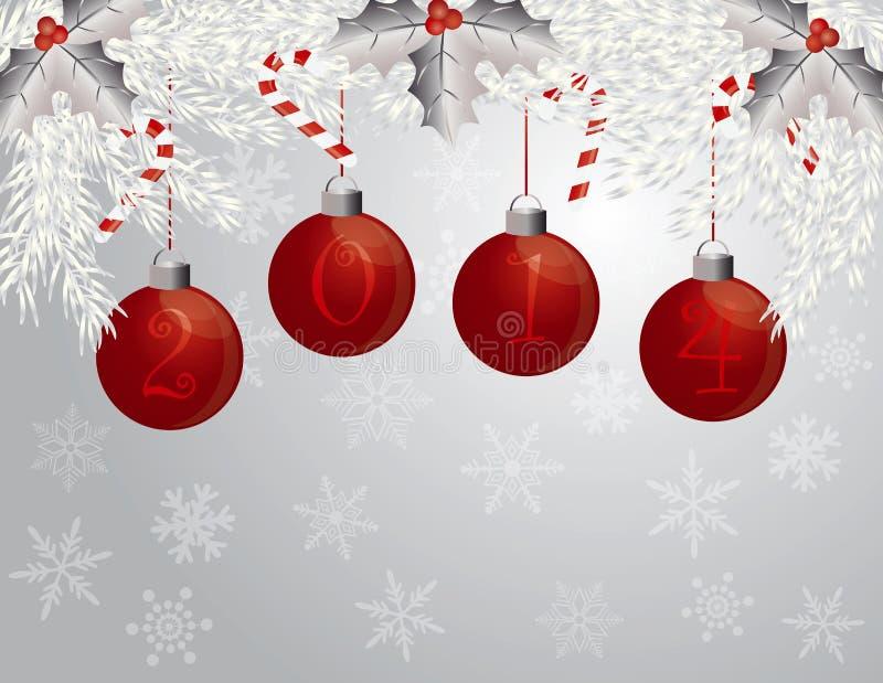 Guirnalda de la Feliz Año Nuevo con el ejemplo de 2014 ornamentos ilustración del vector