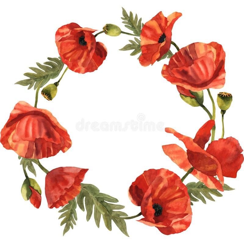 Guirnalda de la flor de la amapola del Wildflower en un estilo del vector libre illustration