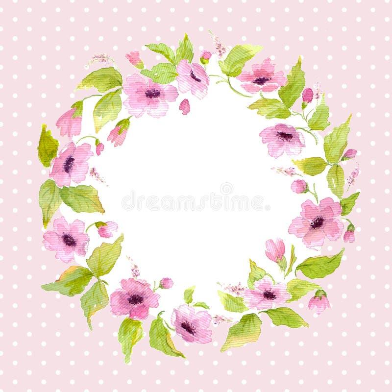 Guirnalda de la flor de la naturaleza de la acuarela Modelo para la tarjeta de felicitación stock de ilustración