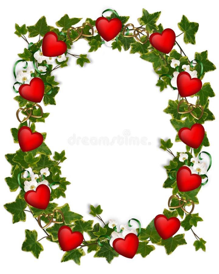 Guirnalda de la hiedra de la frontera de la tarjeta del día de San Valentín con los corazones libre illustration