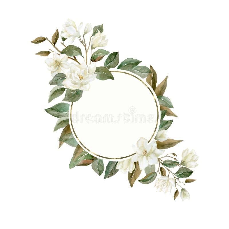 Guirnalda de la magnolia de la acuarela con las plantas y las hojas ilustración del vector