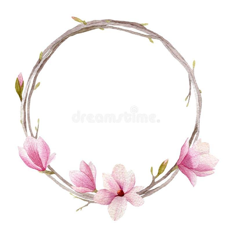 Guirnalda de la magnolia de la acuarela con el isolat de las ramas, de los brotes y de las flores ilustración del vector